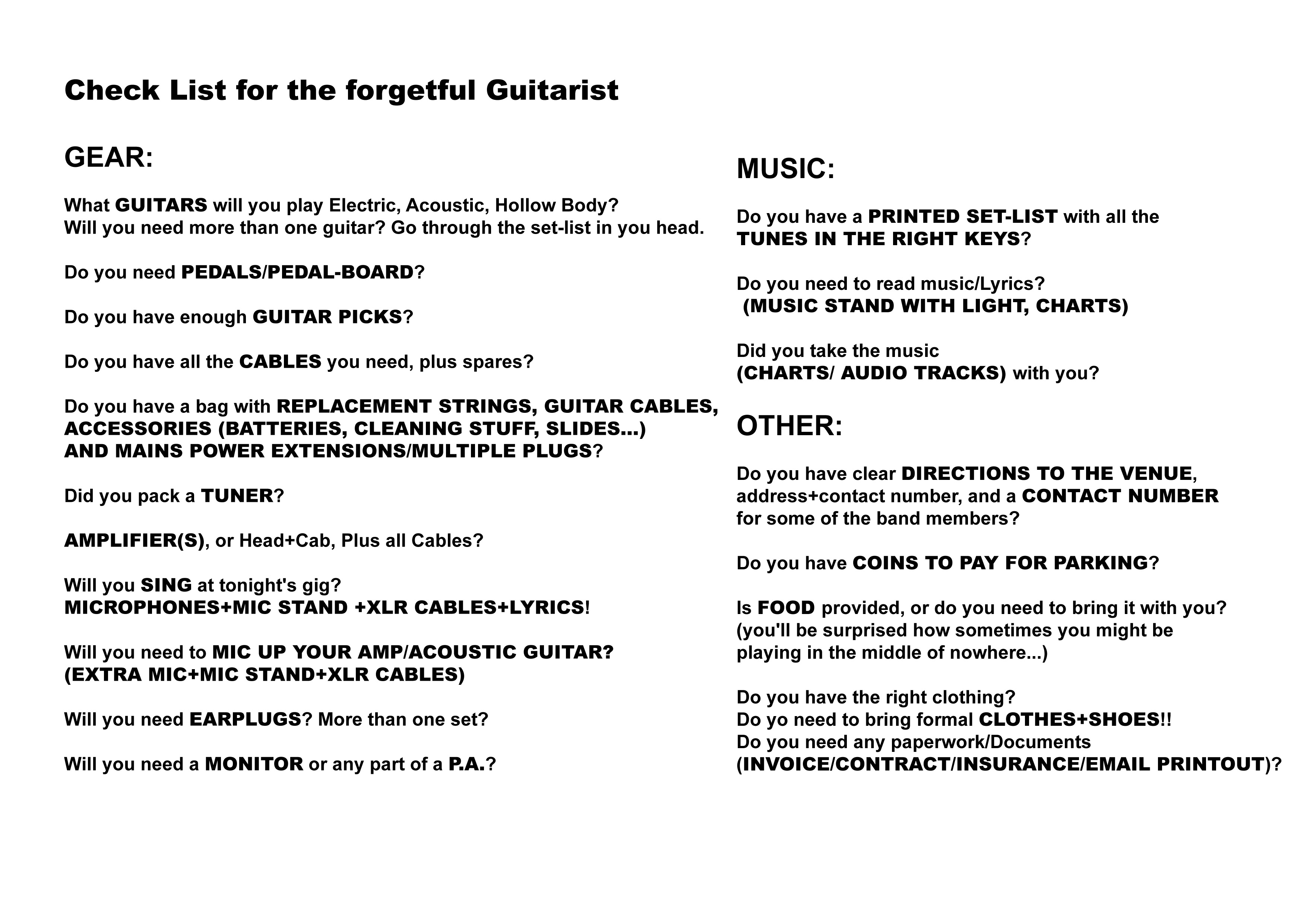 Check List for the forgetful Guitarist